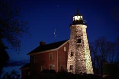 Charlotte Lighthouse at night (-dangler) Tags: longexposure lighthouse ny brick stone night port stars charlotte historic rochester clear greece geneseeriver monroecounty charlotteny