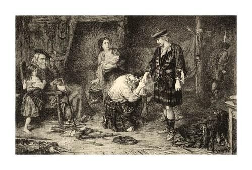 010- El príncipe Charles Edward en una vivienda campesina- Grabado por H. M. Raeburn para la novela Waverly de W. Scott