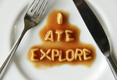 I ate Explore (The Green Album) Tags: food tomato sauce knife fork humour pasta explore eat pun schoolboy doublemeaning alphabetties