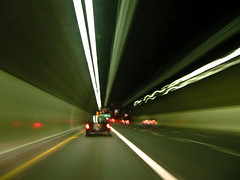 Tunnel Vision (Candice (Bessie Smith)) Tags: red white green cars night speed lights losangeles tunnel freeway 2ndstreettunnel october20 flickrsbest photo365 photo365293
