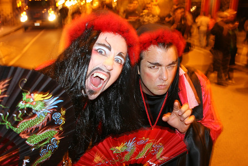 Fausto and Marc dress up as Asian vampires