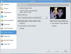 Webcam Shot on Skype for Linux