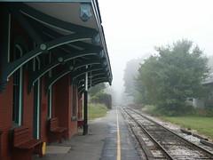 Chester Depot, VT (Pilgrim on this road - Bill Revill) Tags: mist station fog train haze vermont chester trainstation depot vt chesterdepot greenmountainrailroad greenmountainrr