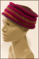Noro and Brown Sheep Wool Pill box, short brim, slightly felted / fulled