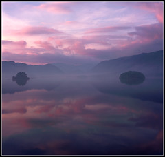 Borrowdale in Pink (ShinyPhotoScotland) Tags: morning pink colour reflection film nature sunrise square landscape islands early bravo colours fuji lakedistrict symmetry hasselblad derwentwater provia keswick mellow borrowdale friarscrag supershot magicdonkey outstandingshots megashot bratanesque