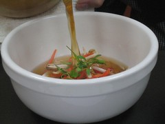 Shiitake Mushroom and Ginger Soup with Bean Sprouts and Cilantro