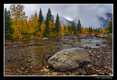 A Rock and a Storm (James Neeley) Tags: autumn storm fall landscape tetons hdr grandtetonnationalpark jennylake cottonwoodcreek 5xp aplusphoto jamesneeley