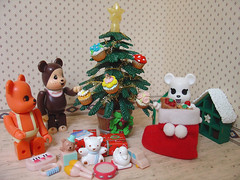 Look at what Santa brought... (ecpica) Tags: christmas car toys star duck piano christmastree gifts cupcake teddybear tambourine bearbrick berbrick christmasstocking playcommy