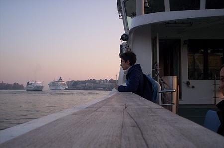 En el ferry, al atardecer