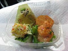 Oms/b: Rice ball in box - hijiki, salmon croquette, shrimp pop corn, crab salad