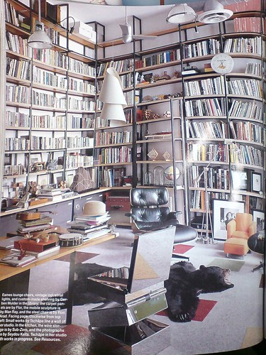 Vik Muniz' library in Elle Decor, Jan/Feb 2008
