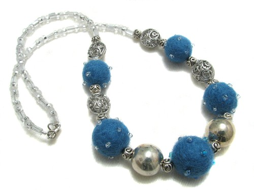 Blue Sparkly Felt Bead Necklace