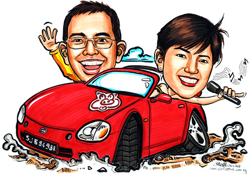Caricatures Couple Honda CRX Del Sol