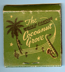 Cocoanut Grove, Los Angeles (jericl cat) Tags: world art illustration vintage hotel design grove famous palm nightclub ambassador saxophone matchbooks matchbook cocoanut