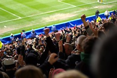 Atmosphere in the away end (JonHall) Tags: football fulham derby premiership fulhamfc pridepark derbycountyfc derbycountyvsfulham20080329 fulhamfansset20072008