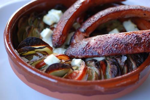 baked veggies-txistorra