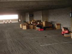 cardboard 'dump' on level 8 of the car park