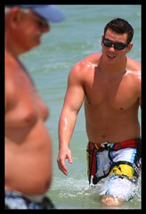 Life Happens: An Exercise in Contrasts (rebelshootsfan) Tags: old man men beach dof fat young depthoffield fit