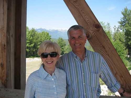 Fay Lejeune and Simon Pielow on the Covered Bridge, Golden, Royal Canadian Pacific