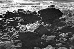 Rocks and sun (Adobe Garamond) Tags: rock wave rocks sun dark contrast bw black white filter blur sea water cold beach spain climb dangerous unexplored discover shadows wet