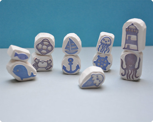 Special summer hand carved rubber stamps collection