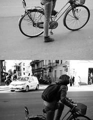 [La Mia Citt][Pedala] (Urca) Tags: portrait blackandwhite bw italia milano bn ciclista biancoenero bicicletta pedalare 2013 dittico 60555 ritrattostradale nikondigitalefilippetta