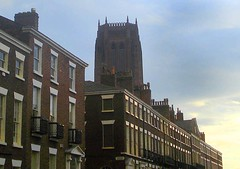 rodney street and cathedral - liverpool - england (~ paddypix ~) Tags: urbanside ukandireland picasa photoshop oldcity moodyblues liverpool iusedpicasa doorsandwindows colour churches buildings angles
