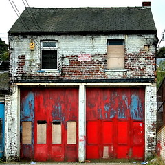 fire station (Harry Halibut) Tags: blue red station fire paint doors telephone sheffield images cables wires fading brickwork allrightsreserved stocksbridge sheffieldbuildings sheff071026042a imagesofsheffield redsheff andrewpettigrew sheffieldarchitecture