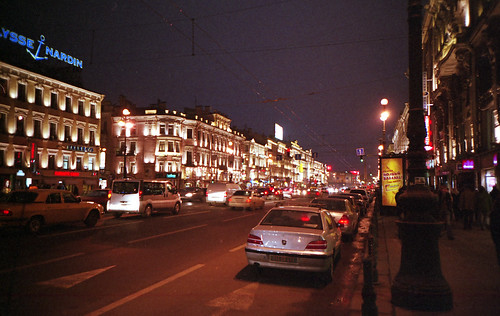 Nevsky Prospekt at night, photo by Geir Halvorsen