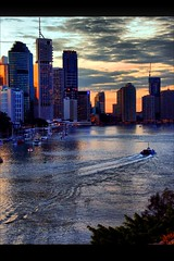 Brisbane City Sunset (whoops vision) Tags: sunset sunlight water ferry clouds buildings boats lights twilight brisbane cbd brisbaneriver brisbanecity colouredsky mywinners anawesomeshot superaplus aplusphoto