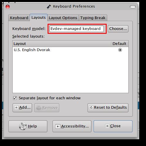 gnome keyboard setting