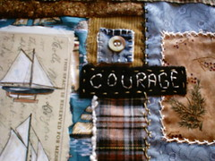 new wip 1 (shebrews) Tags: collage sailboat print embroidery wallhanging artquilt fabriccollage