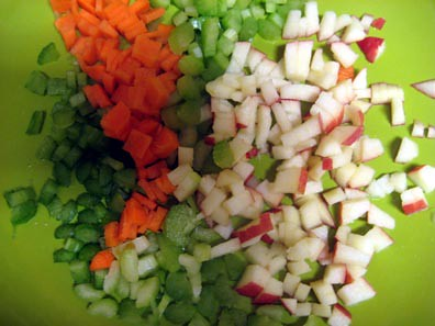 celery, carrots, apples