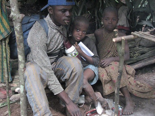 TL foret, here 2 children are left behind when the rest of the camp fled upon seeing our team arrive at the camp they think we are military