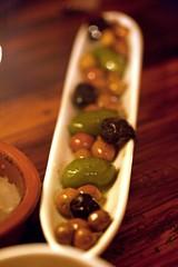 Bella di Cerignola, Moroccan cured and Arbequina olives