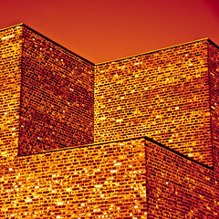 The tower (manganite) Tags: red sky sculpture orange abstract brick tower art geometric colors lines yellow architecture modern digital buildings germany square geotagged gold nikon colorful europe tl perspective duotone walls cubes d200 nikkor dslr toned turm erwin neuss hombroich museumsinsel northrhinewestphalia 18200mmf3556 utatafeature manganite nikonstunninggallery ipernity heerich minkel date:year=2008 geo:lat=5114604 geo:lon=6659791 date:month=february date:day=9 format:orientation=square format:ratio=11