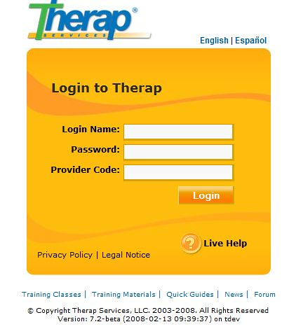 Screenshot of Therap Log in Page