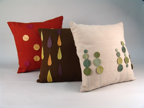 leather applique pillows