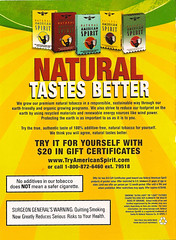American Spirit Organic Cigarettes (ATIS547) Tags: promotion advertising marketing flyer natural recycled spirit earth cigarette ad advertisement american friendly packaging organic promotional tobacco outrageous responsible deceptive authentic sustainable renewable protect coupon protecting misleading additivefree