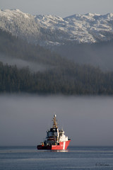 Coast Guard on Guard (zpaperboyz) Tags: mountain canada fog photography coast boat photo ship bc image canon20d guard picture pic pacificocean photograph gordon reid princerupert tamronlens chadgraham