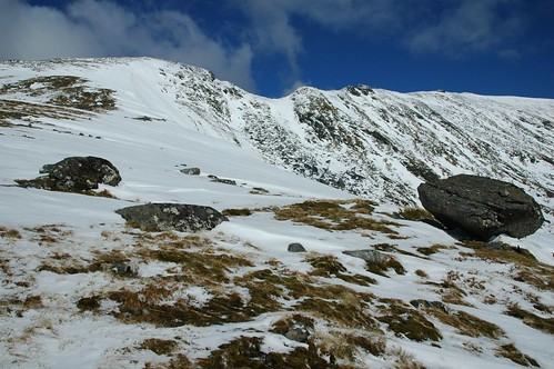Meall Mhor, right, and its narrow ridge