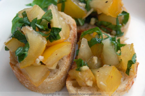 A Taste of Yellow - Yellow Tomato Bruschetta