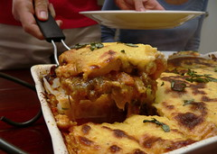 Serving Thai Shrimp Moussaka (HarlanH) Tags: food cooking club dinner greek shrimp curry thai fusion moussaka cookingclub