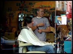 London: Soho Hairdressers (Eric Hands) Tags: people men london window candid soho barber hairdressers stylist samsunggx10 membersroomdayout