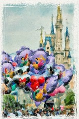 Disney - Balloons & Castle Paint on Canvas
