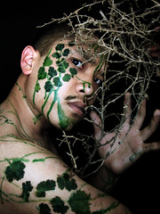 Day 342   The Death of Vegetation (ir0cko) Tags: shirtless selfportrait art dead death sticky naturallight syrup twigs cilantro foodcoloring onblack day342 365days thisistoday