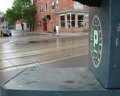 Parking Robot's POV (sniderscion) Tags: street people toronto ontario canada wet rain scott observation robot pavement candid sony parking alien first wave queen east human pedestrians meter invasion snider darkhorse unsuspecting hamiltonst h7 dsch7 sniderscion