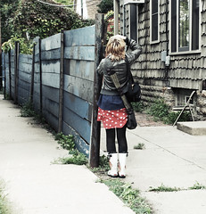 Uptown (aReasontoHope) Tags: blue woman house girl female fence out clothing chair boots leah style skirt teen photograph backpacks layers washed taking gossman