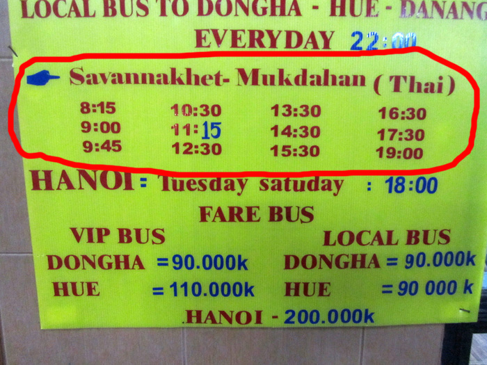 Savannakhet to Mukdahan Bus Schedule