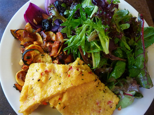 red pepper polenta and salad